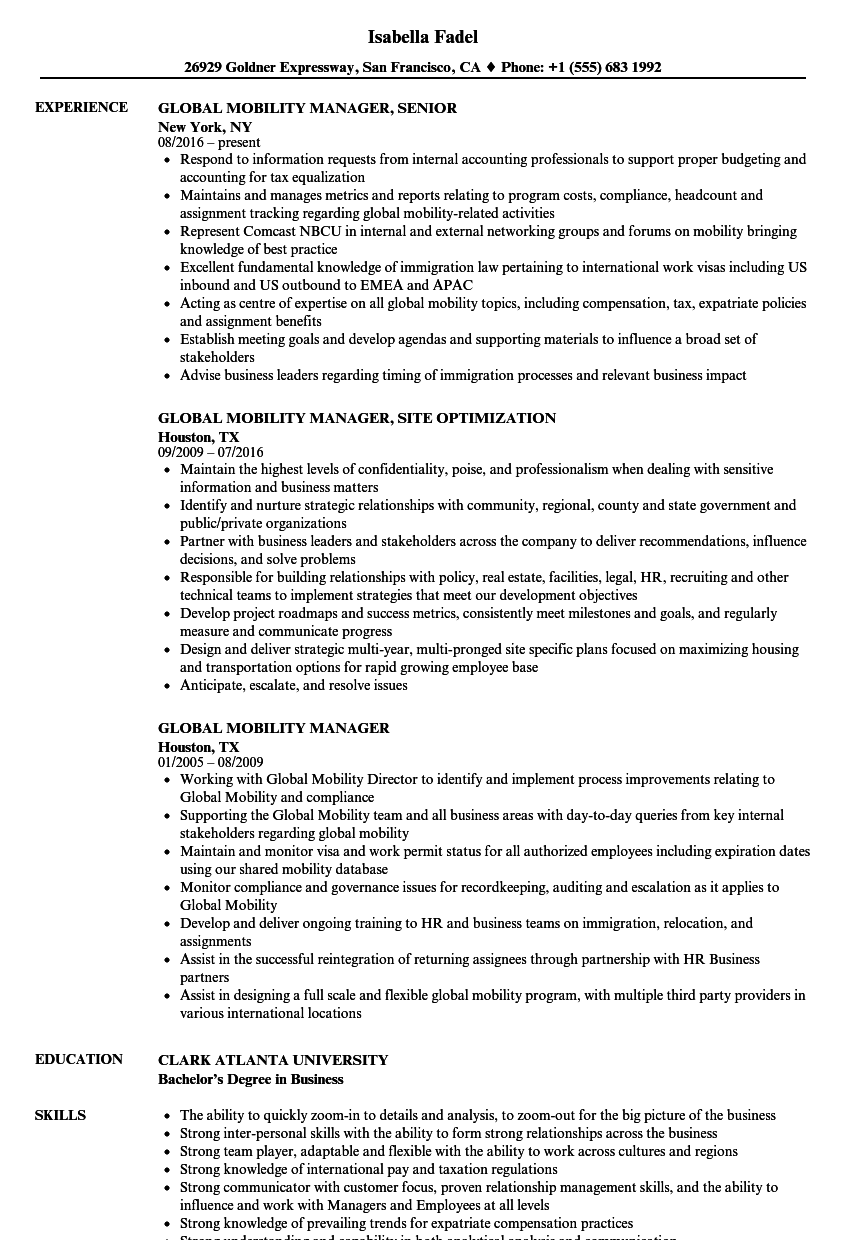 Marvelous Download Global Mobility Manager Resume Sample As Image File
