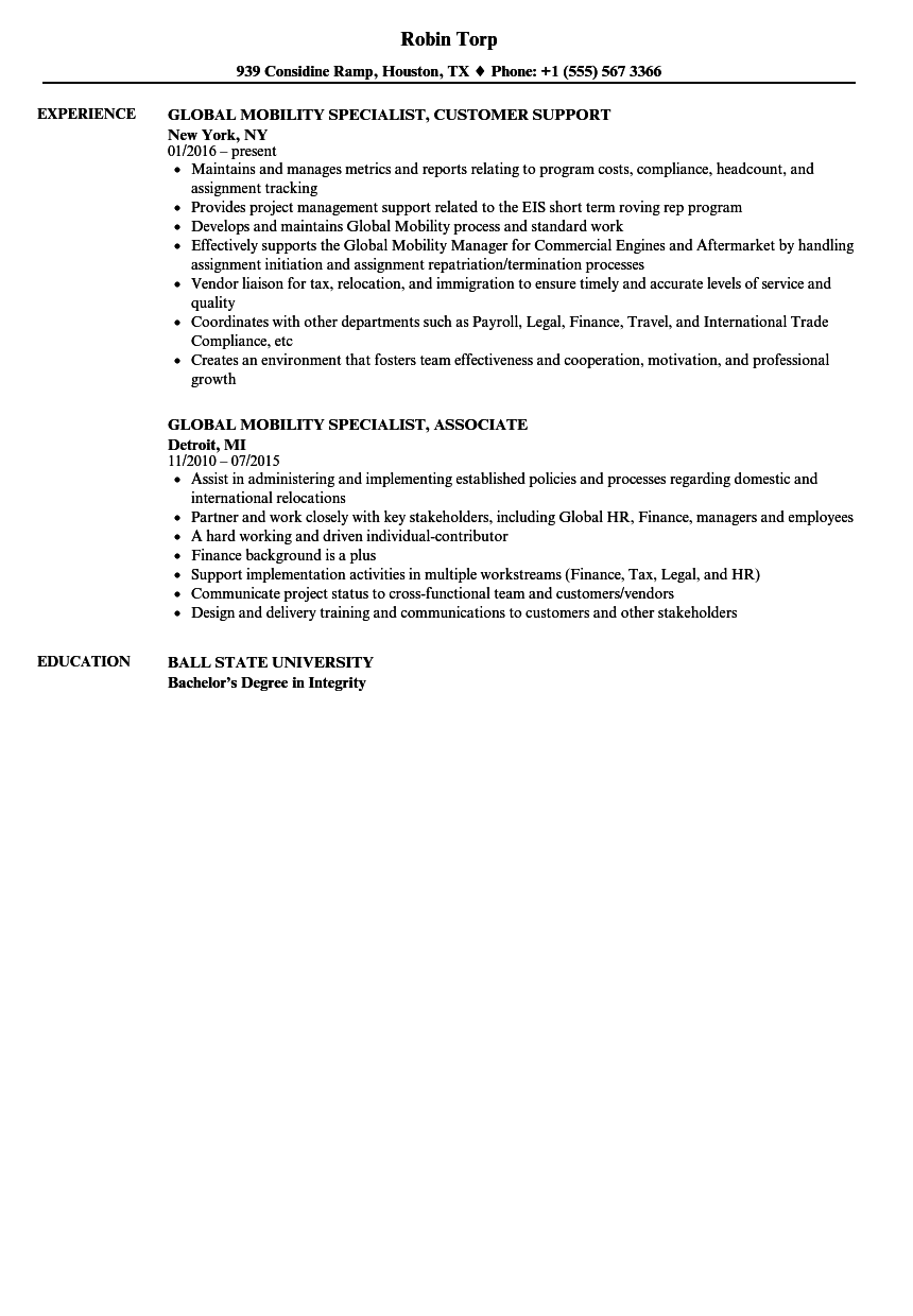 global mobility specialist resume samples