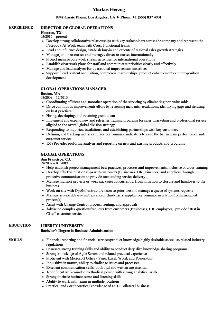 global operations resume samples