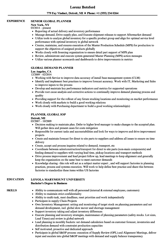 Global Planner Resume Samples | Velvet Jobs