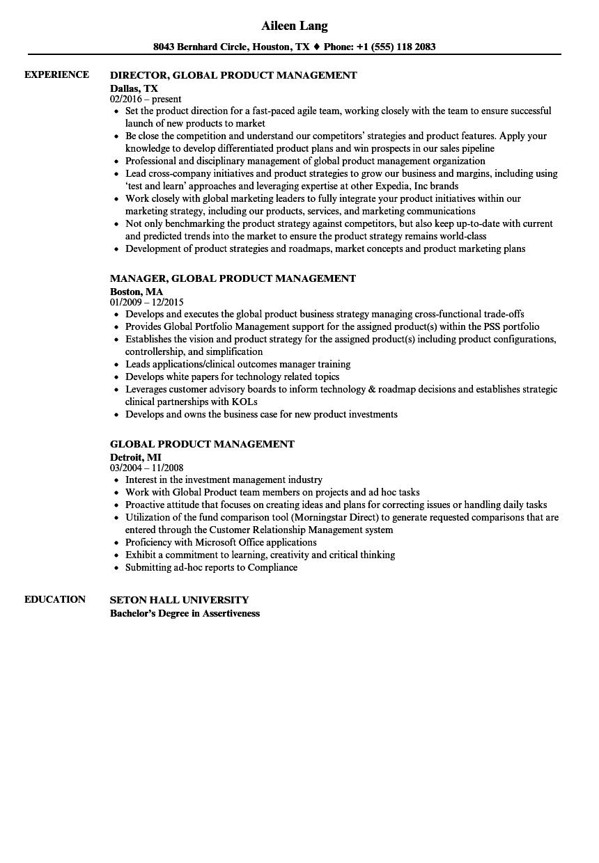 global product management resume samples velvet jobs