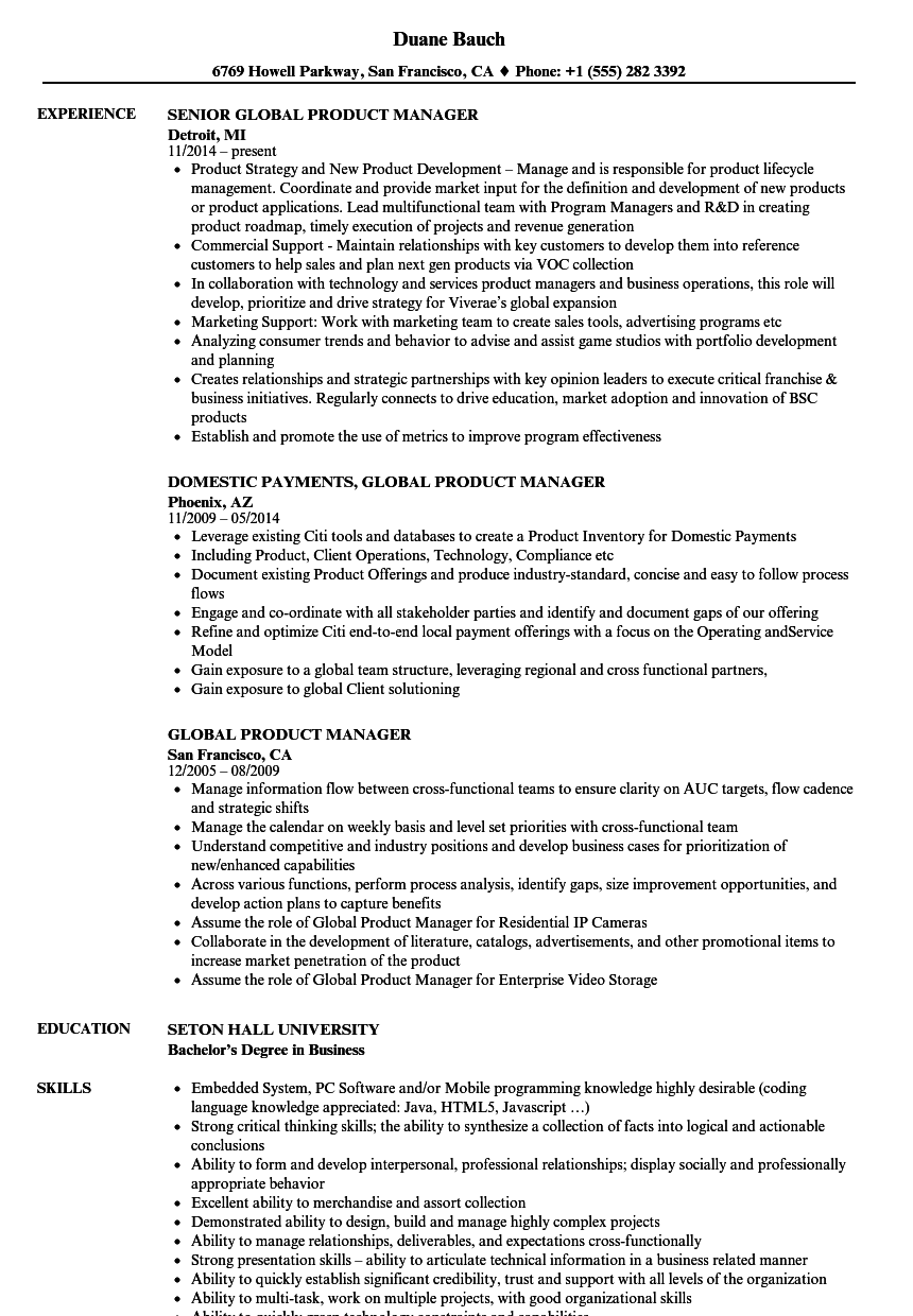 global product manager resume samples