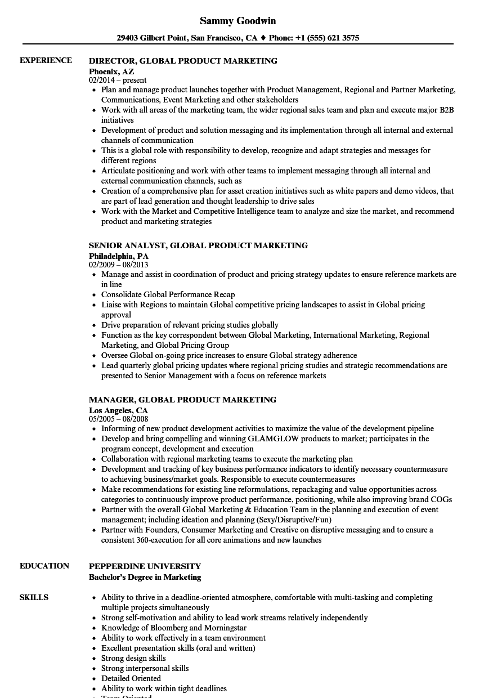 global product marketing resume samples