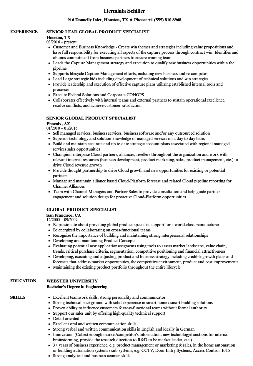 Download Global Product Specialist Resume Sample As Image File