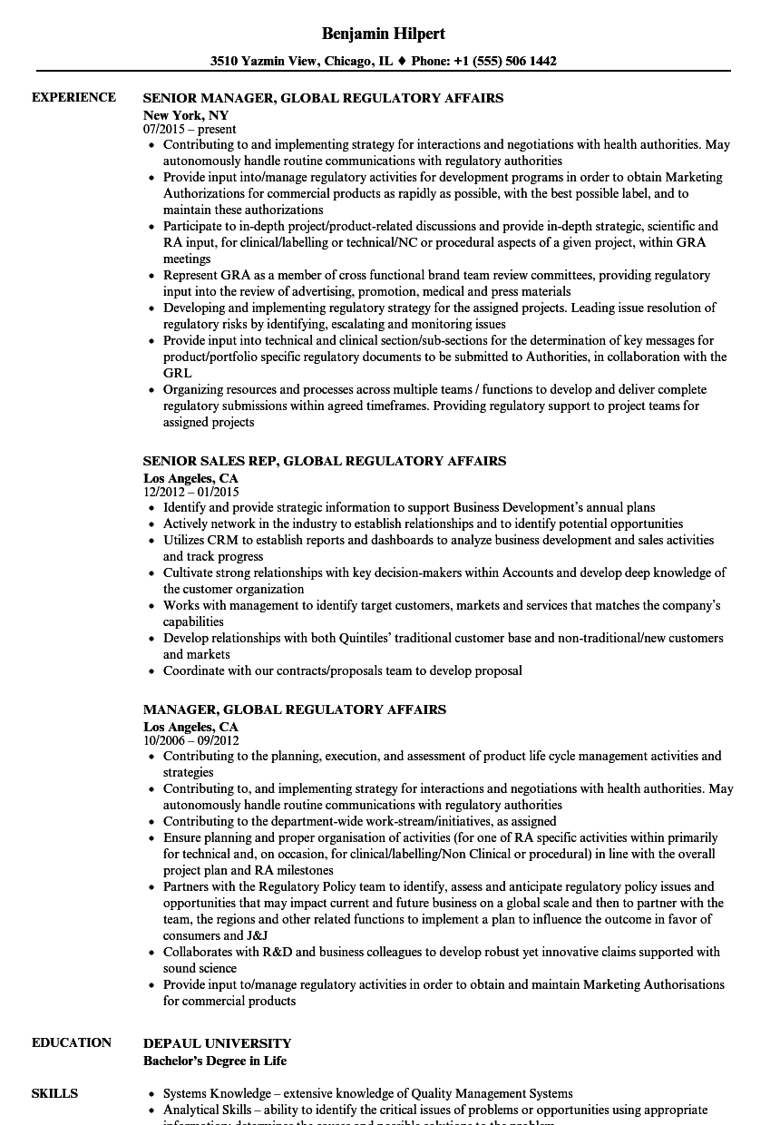 global regulatory affairs resume samples