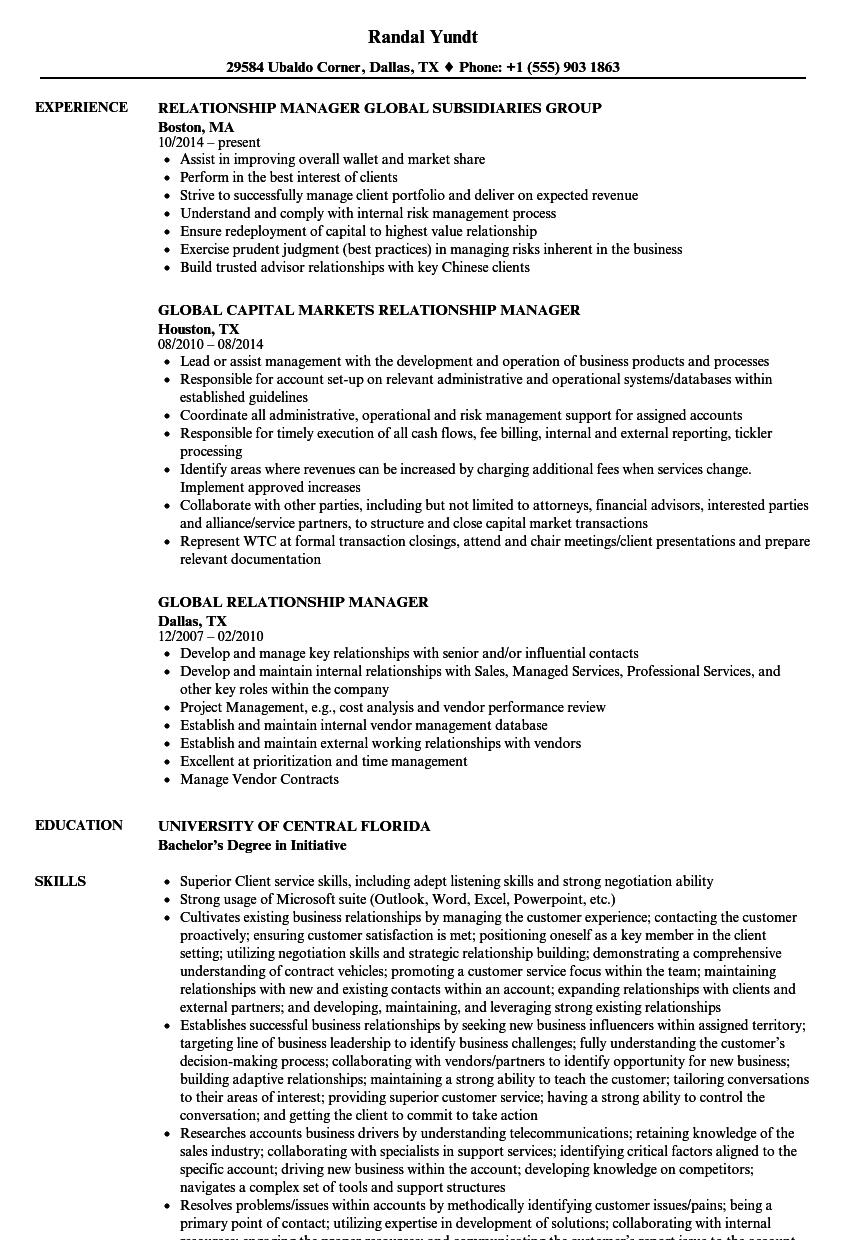 Global Relationship Manager Resume Samples | Velvet Jobs