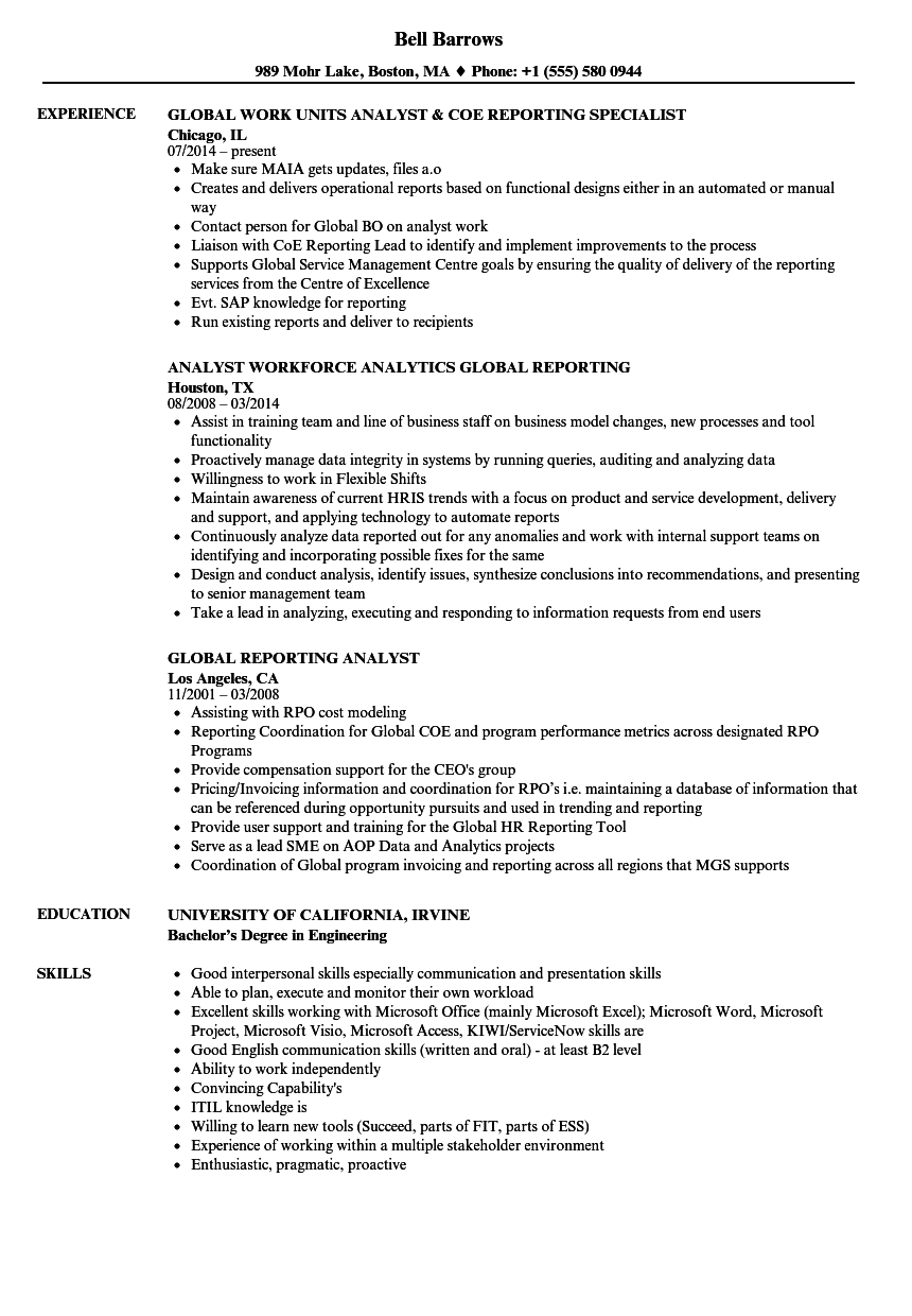 global reporting analyst resume samples