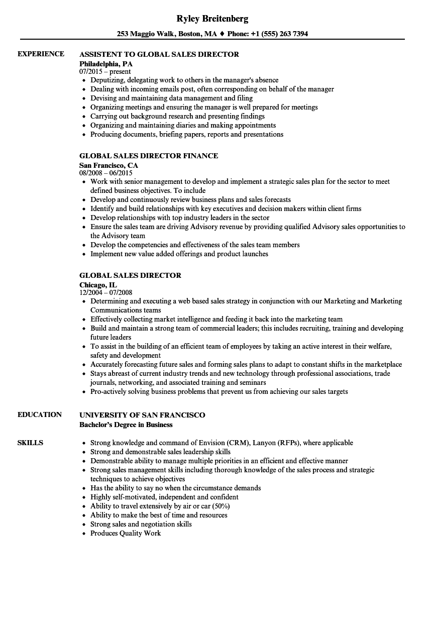 Global Sales Director Resume Samples | Velvet Jobs