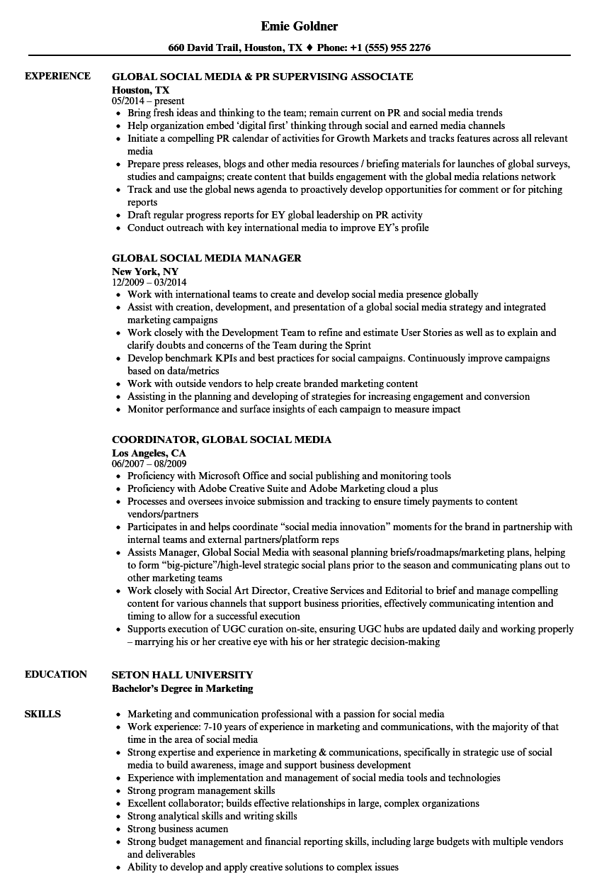 Global Social Media Resume Samples Velvet Jobs