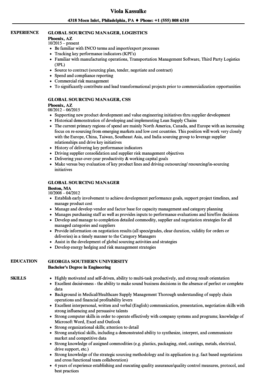 Global Sourcing Manager Resume Samples Velvet Jobs