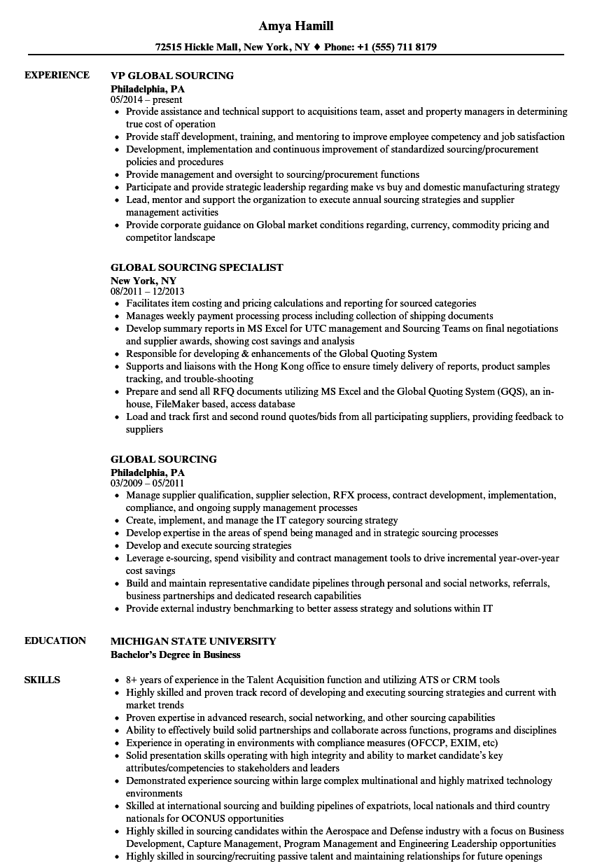 Global Sourcing Resume Samples