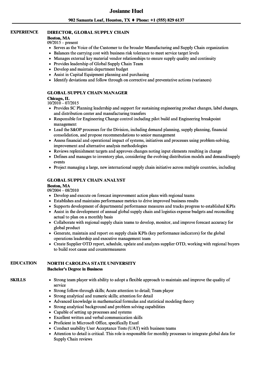 Global Supply Chain Resume Samples Velvet Jobs
