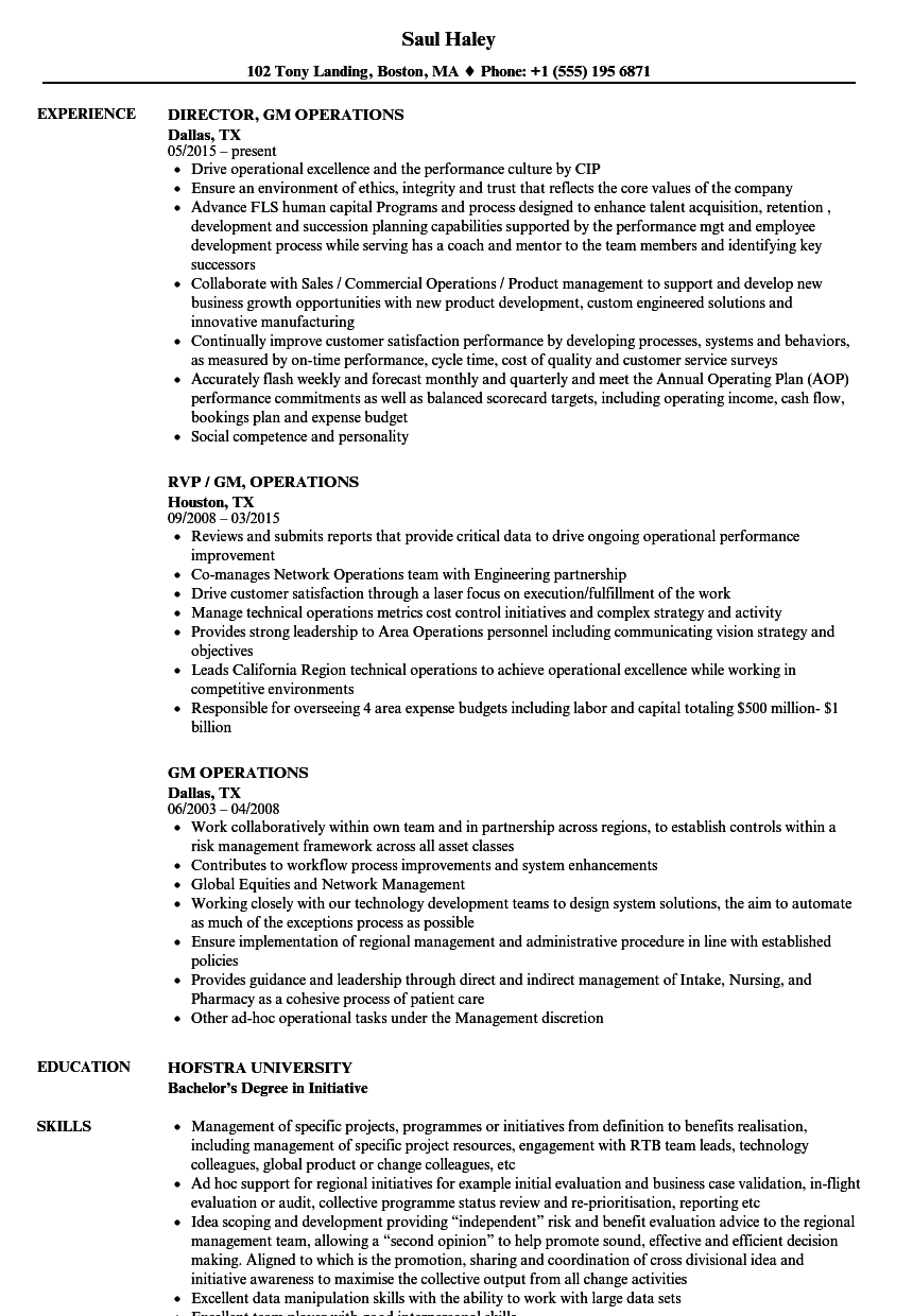Gm Operations Resume Samples