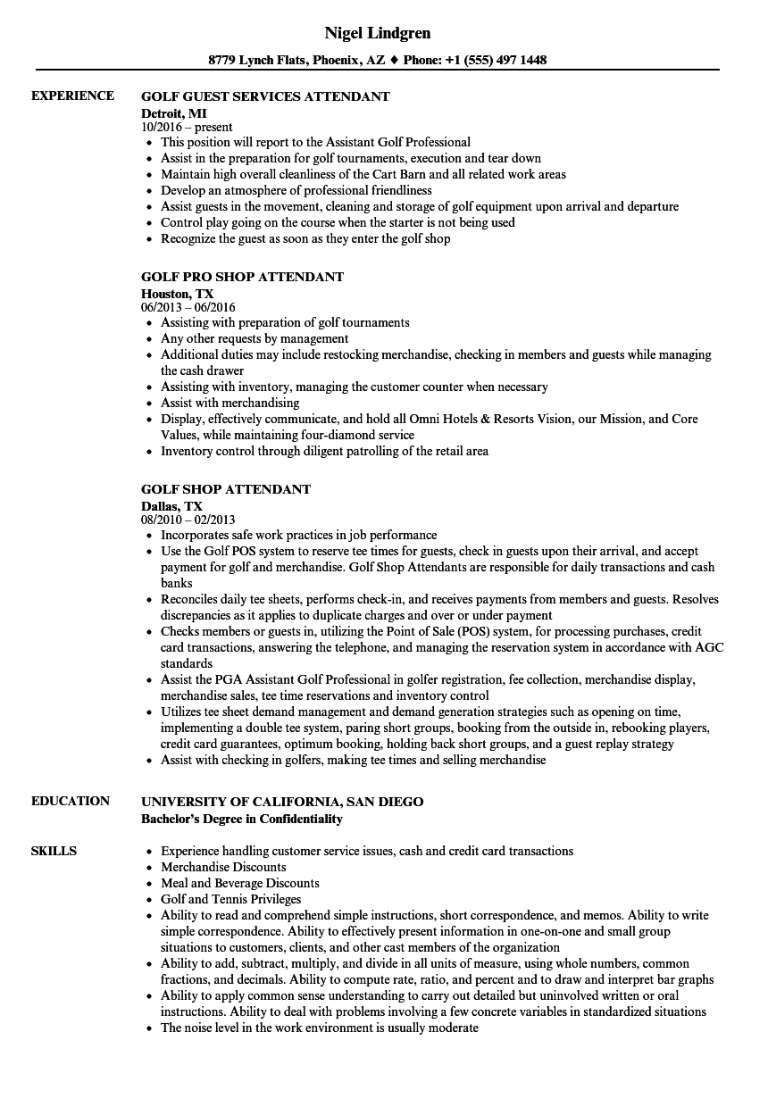 golf attendant resume samples