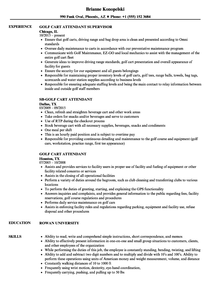 golf cart attendant resume samples