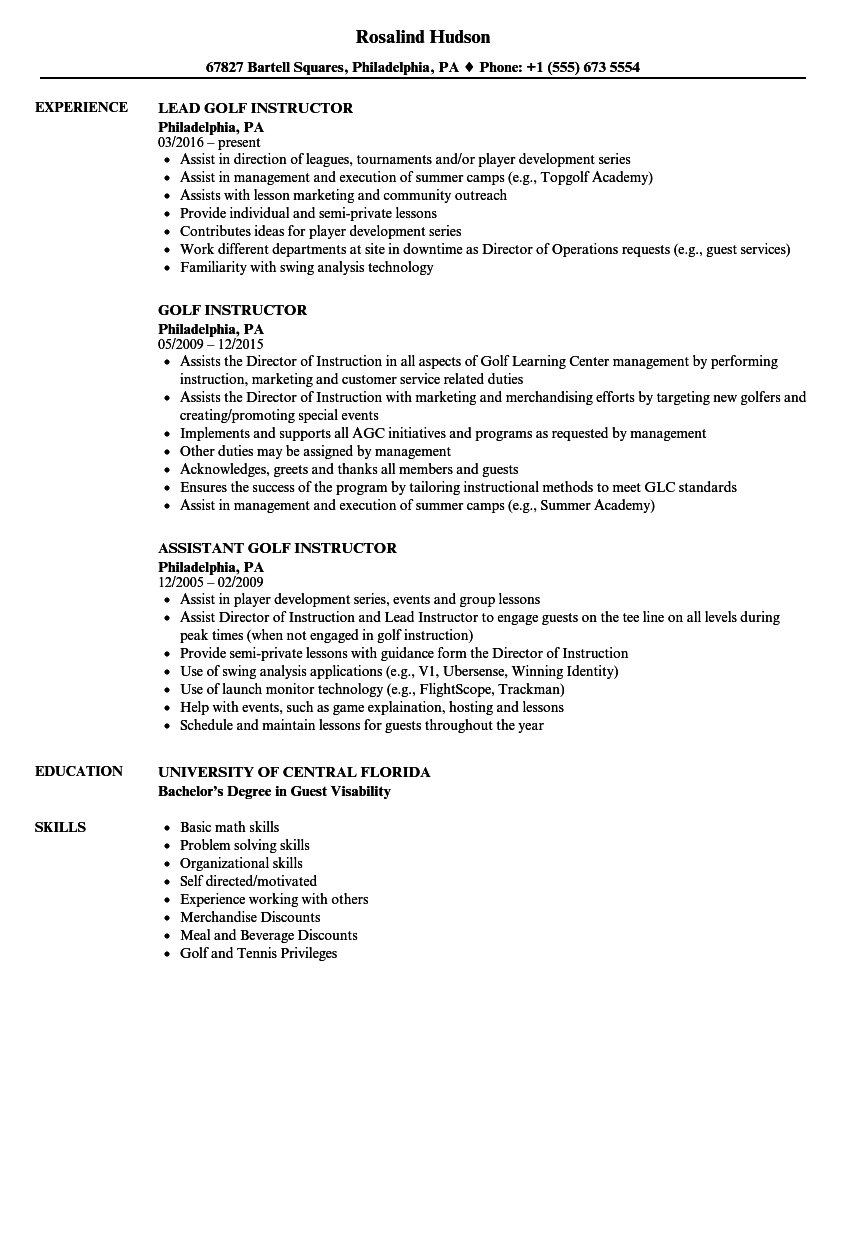 Golf Instructor Resume Samples Velvet Jobs