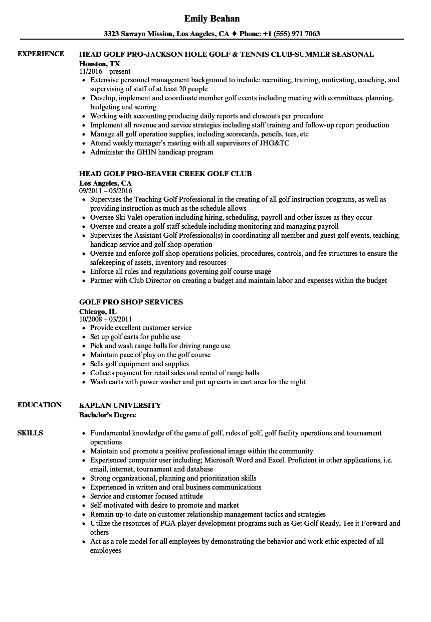 golf pro resume samples