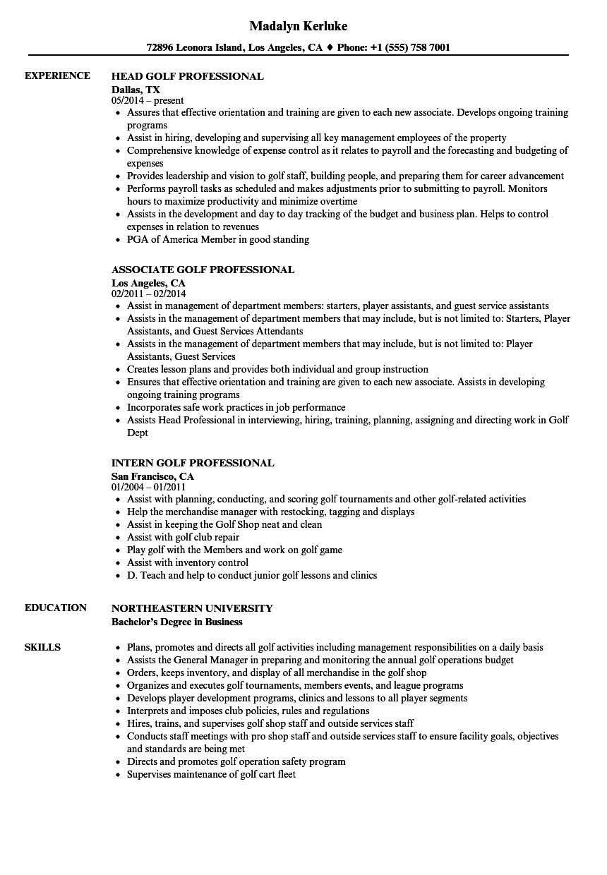 golf professional cv example
