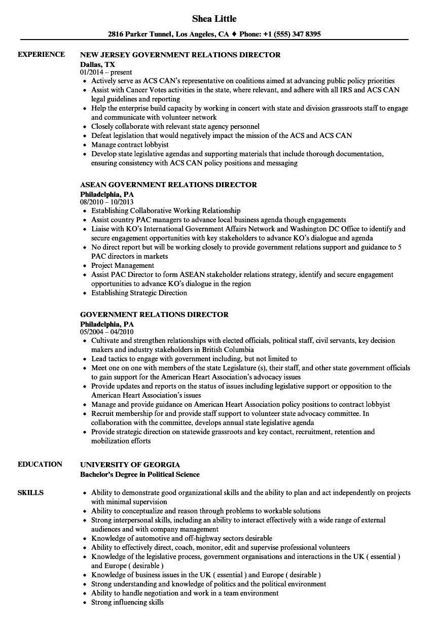 Government Relations Director Resume Samples | Velvet Jobs