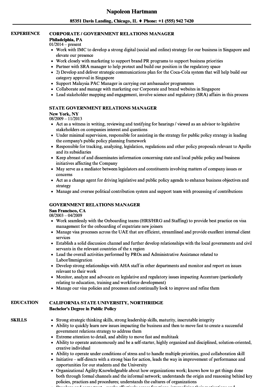 Government Relations Manager Resume Samples | Velvet Jobs