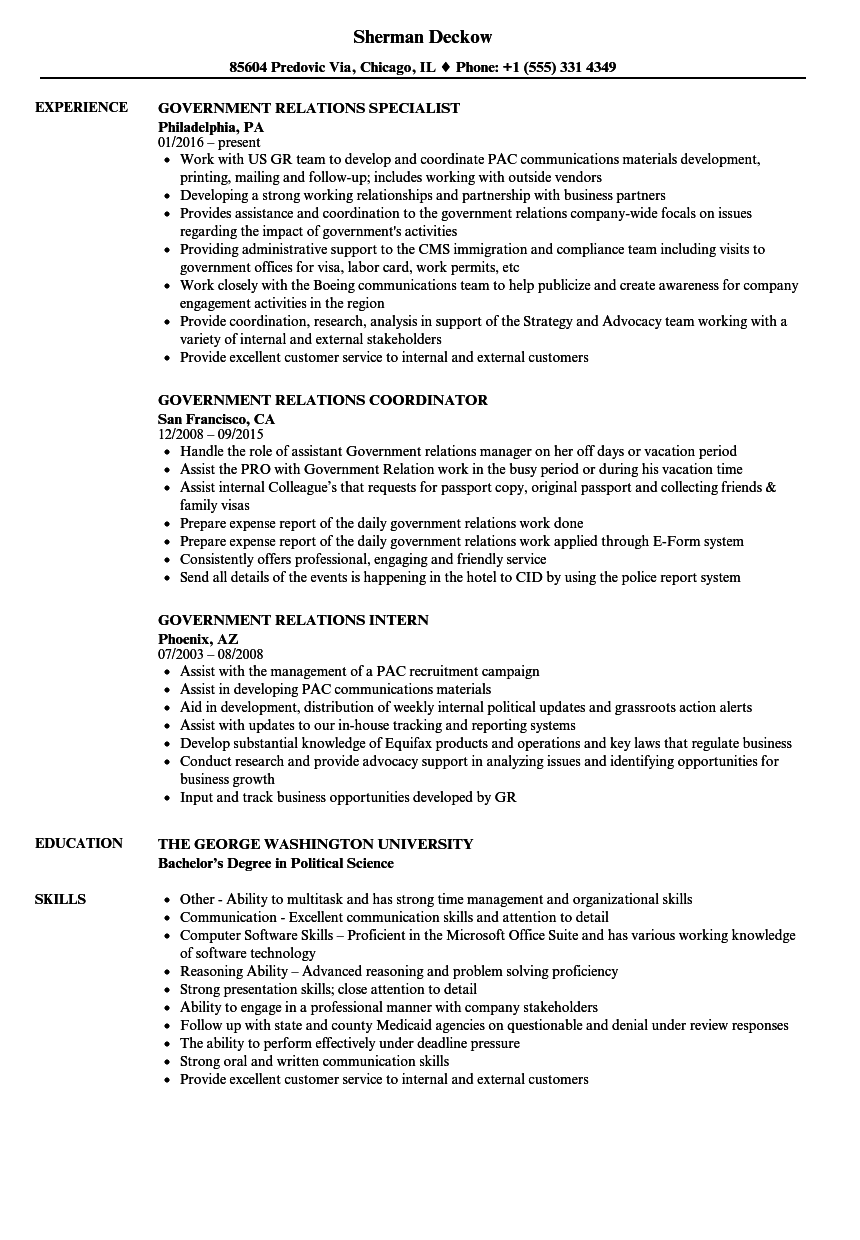 Government Relations Resume Samples | Velvet Jobs