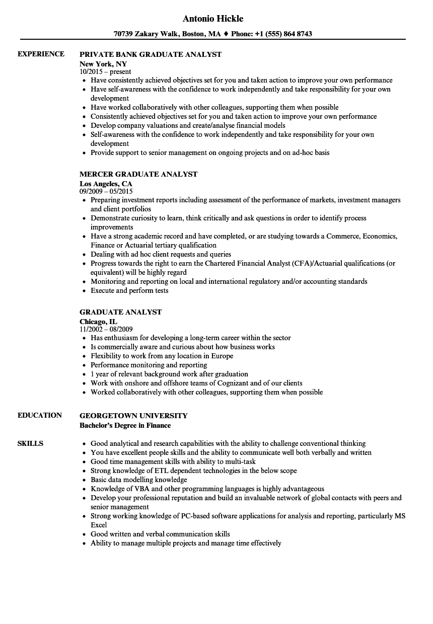 graduate analyst resume samples