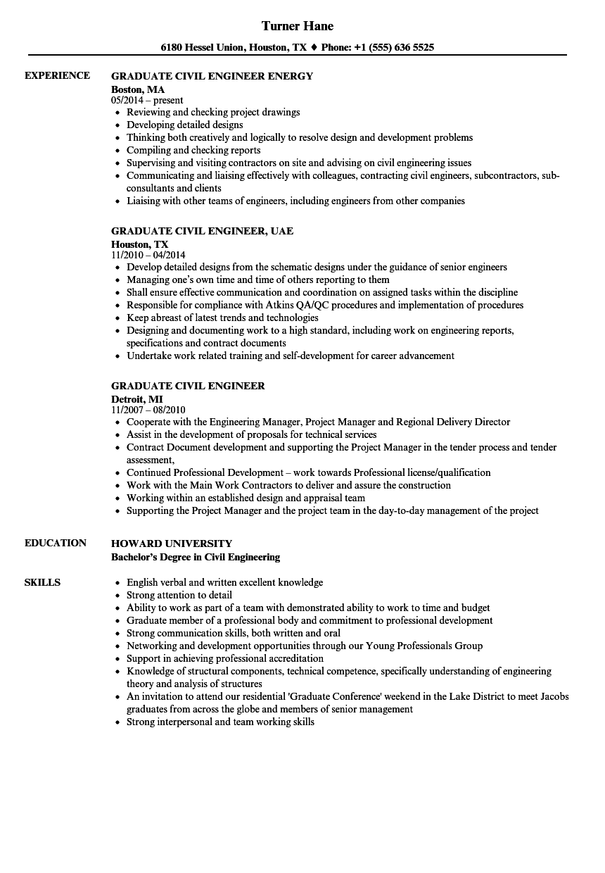 Graduate Civil Engineer Resume Samples | Velvet Jobs
