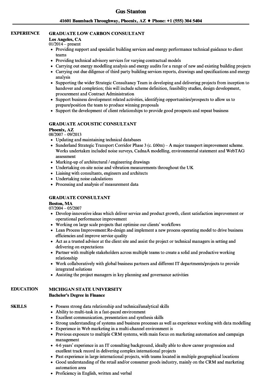 Graduate Consultant Resume Samples | Velvet Jobs