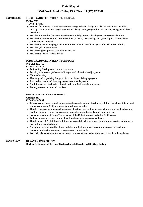 Graduate Intern Technical Resume Samples Velvet Jobs