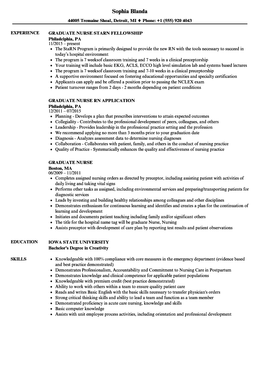 Graduate Nurse Resume Samples | Velvet Jobs