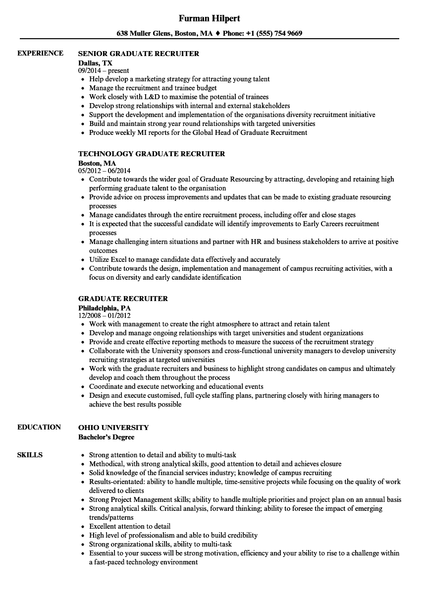 Graduate Recruiter Resume Samples Velvet Jobs