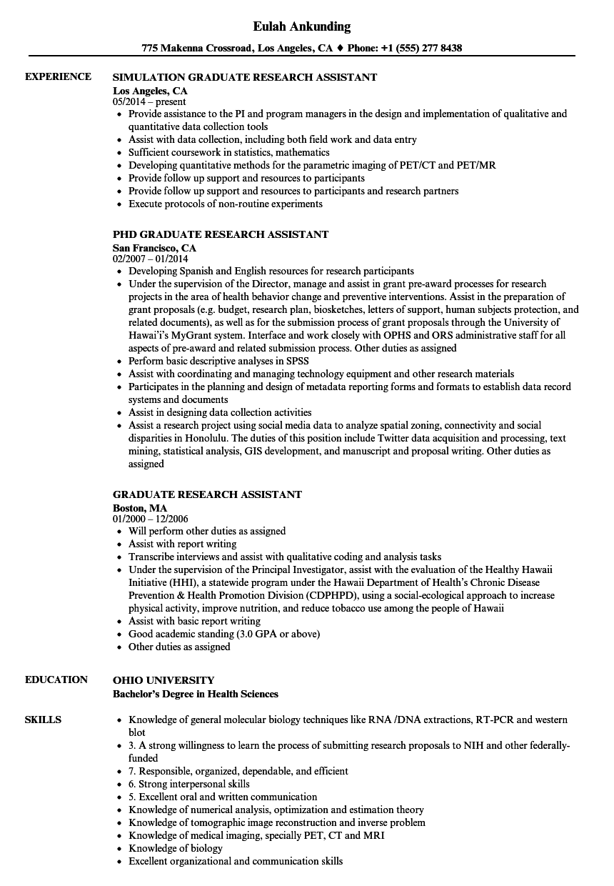 Graduate Research Assistant Resume Samples | Velvet Jobs