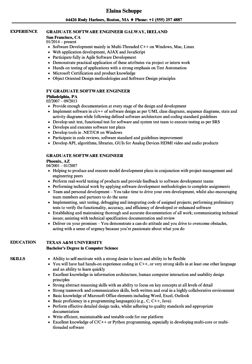 Graduate Software Engineer Resume Samples | Velvet Jobs