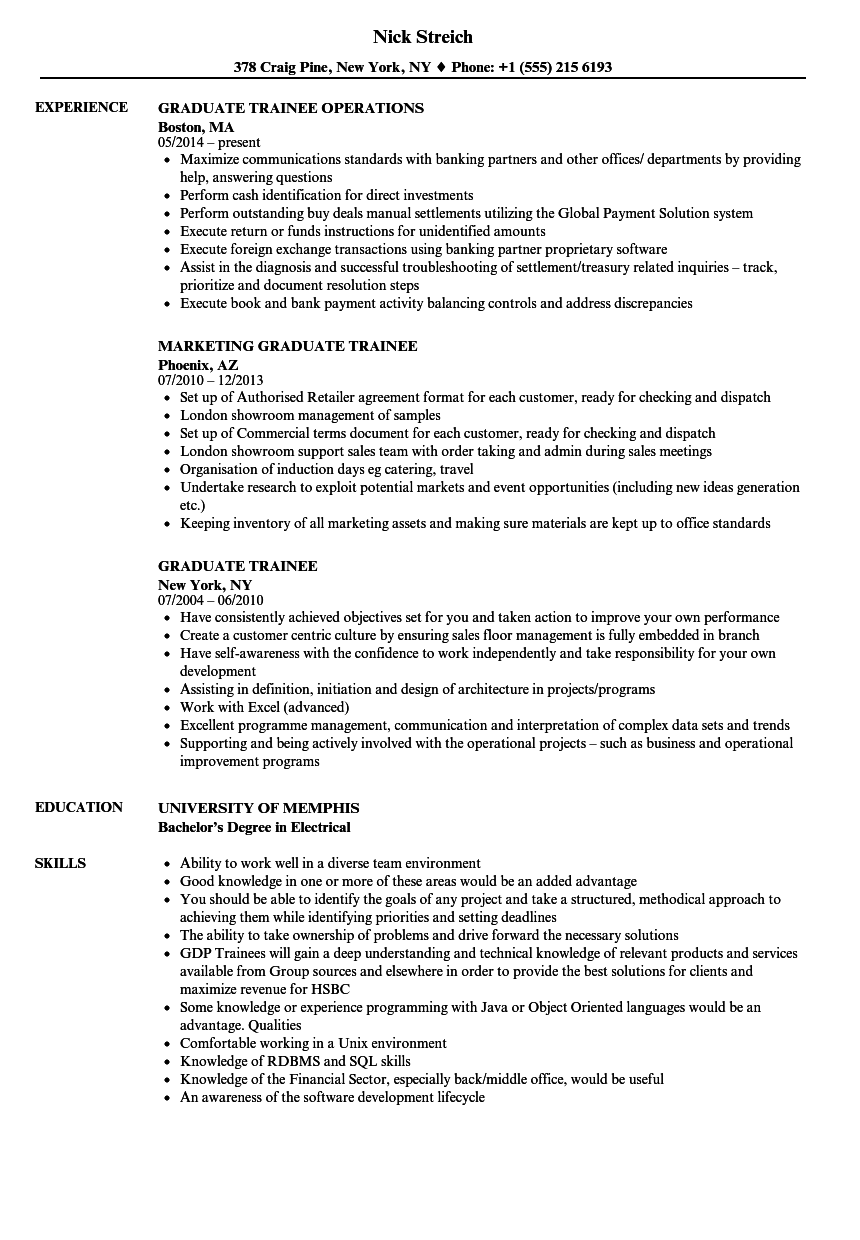 Graduate Trainee Resume Samples Velvet Jobs
