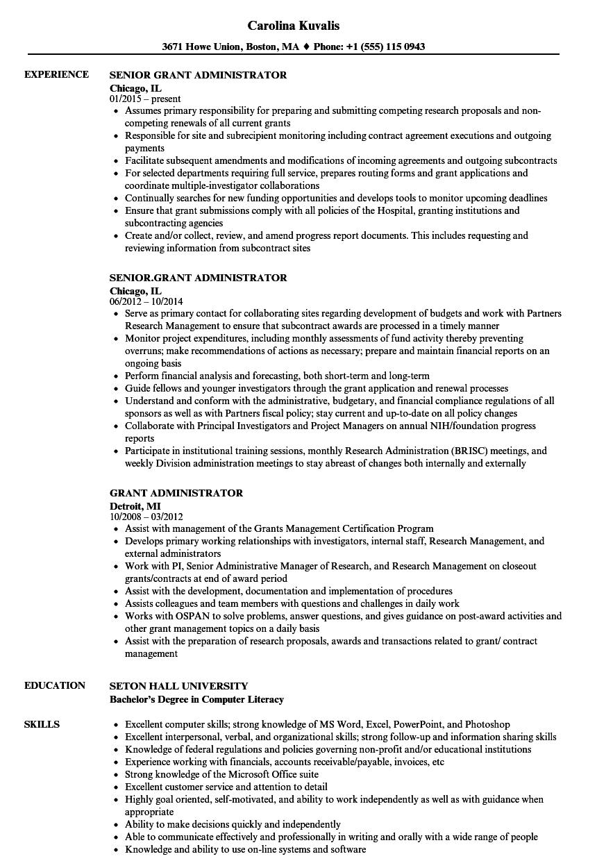 Grant Administrator Resume Samples | Velvet Jobs
