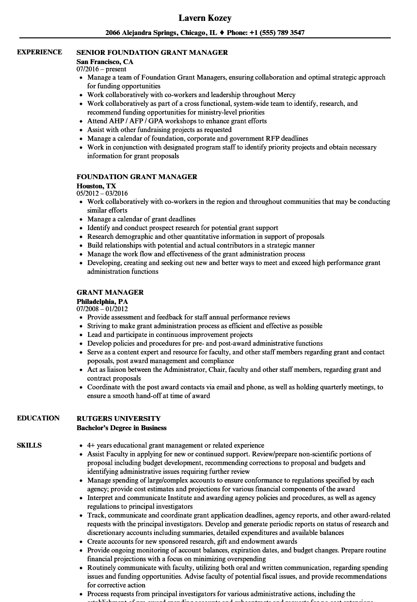 grant manager resume samples