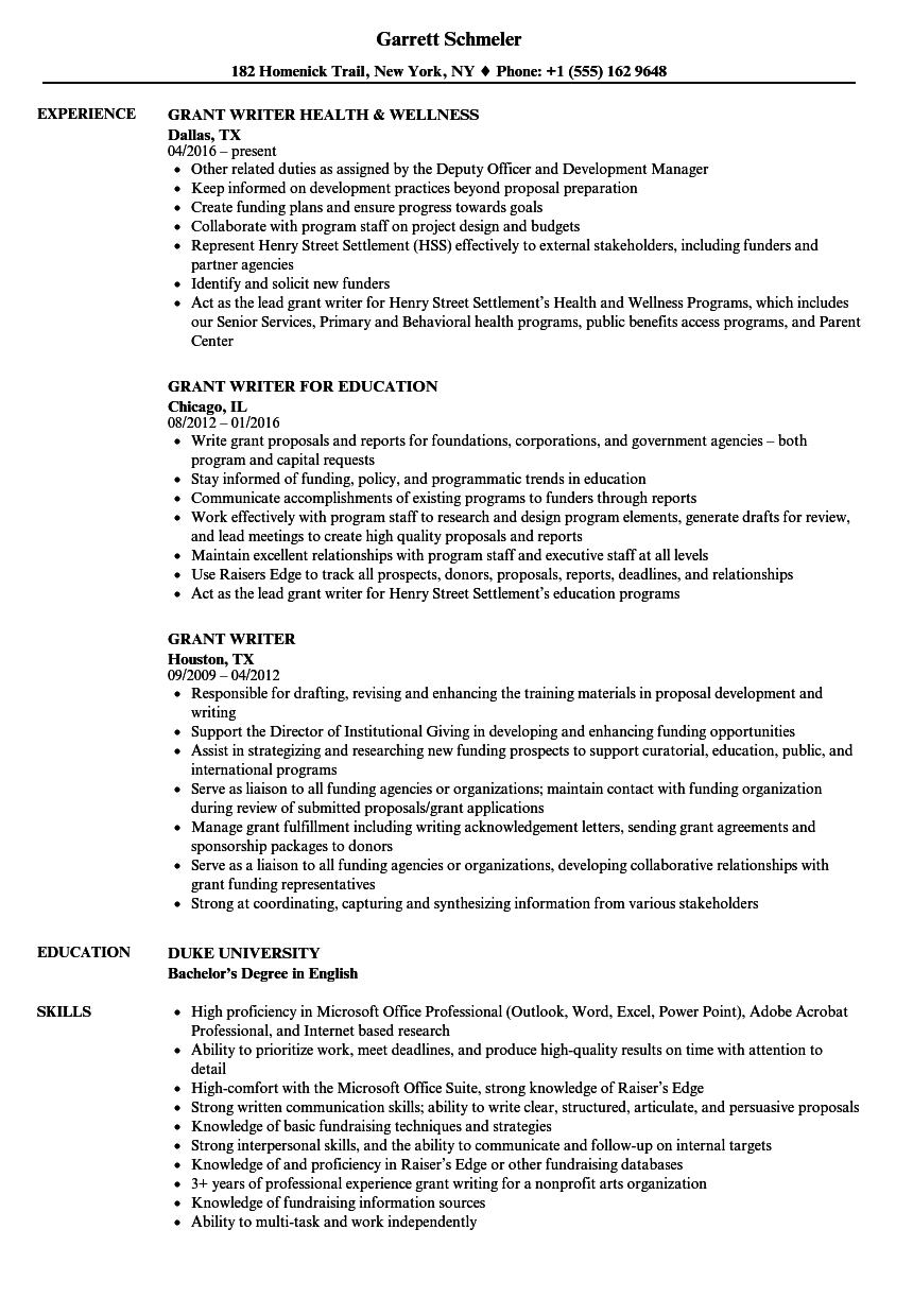 Grant Writer Resume Samples | Velvet Jobs