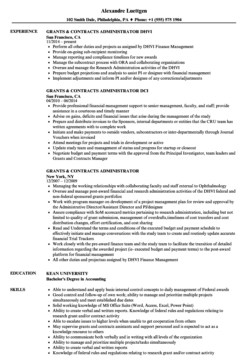 grants  u0026 contracts administrator resume samples