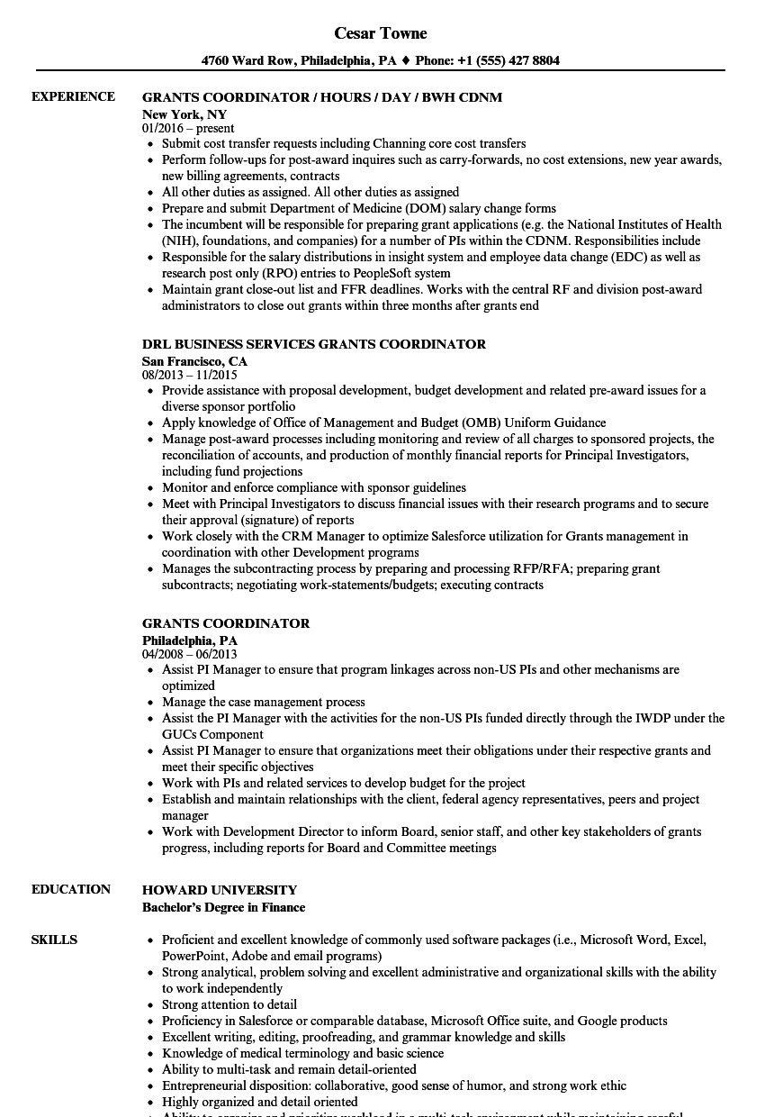 Grants Coordinator Resume Samples | Velvet Jobs