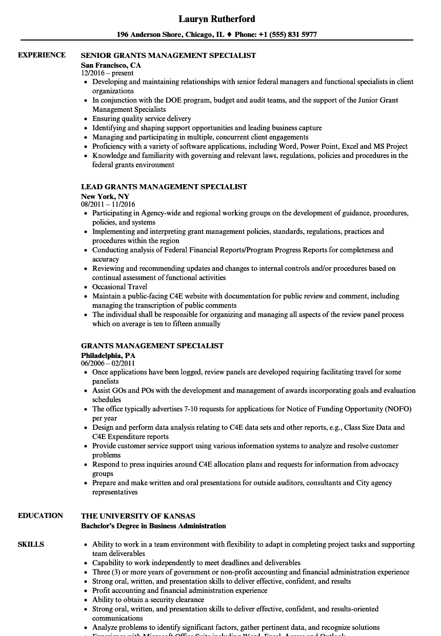 Grants Management Specialist Resume Samples | Velvet Jobs