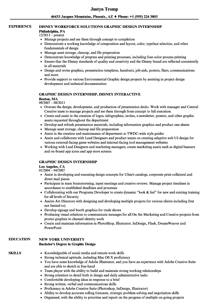Graphic Design Internship Resume Samples | Velvet Jobs