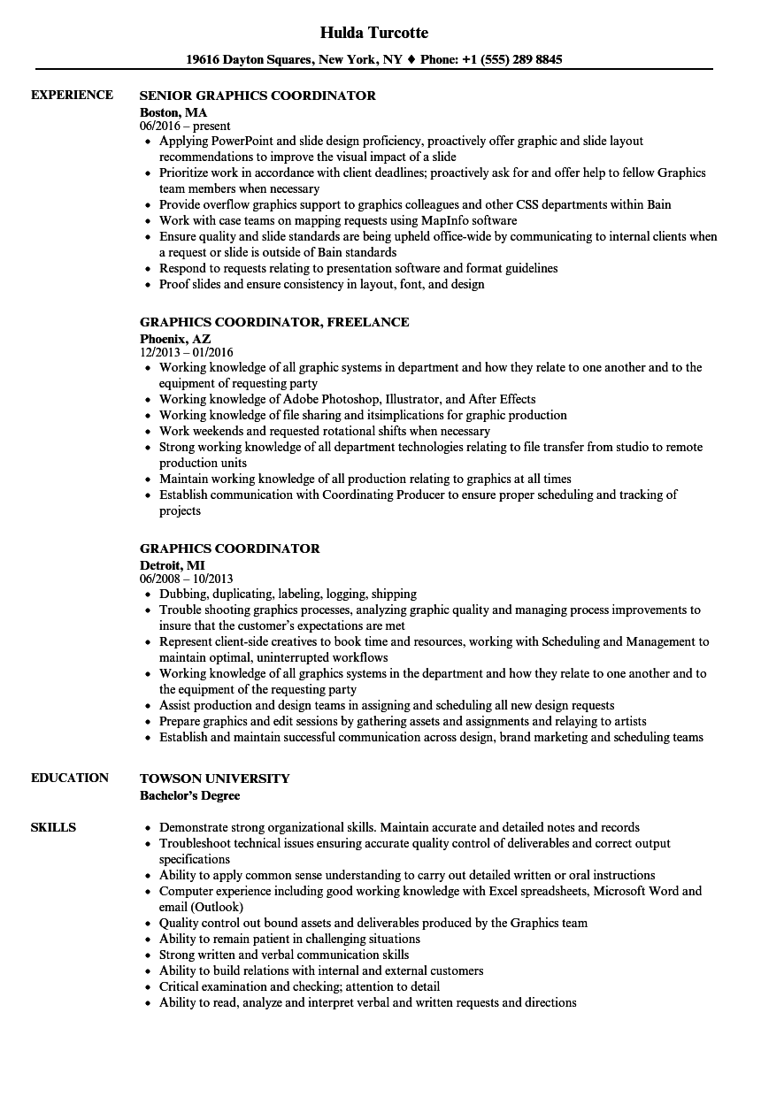 Download Graphics Coordinator Resume Sample As Image File