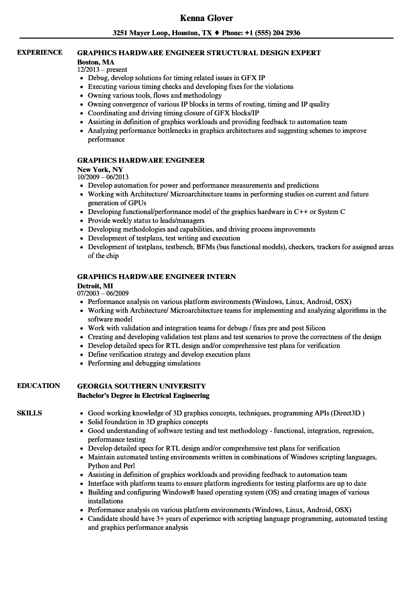 graphics hardware engineer resume samples