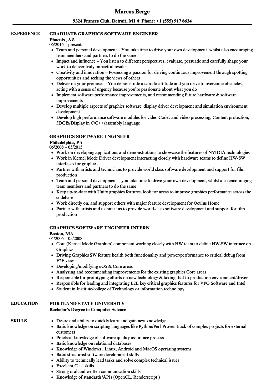 Graphics Software Engineer Resume Samples | Velvet Jobs