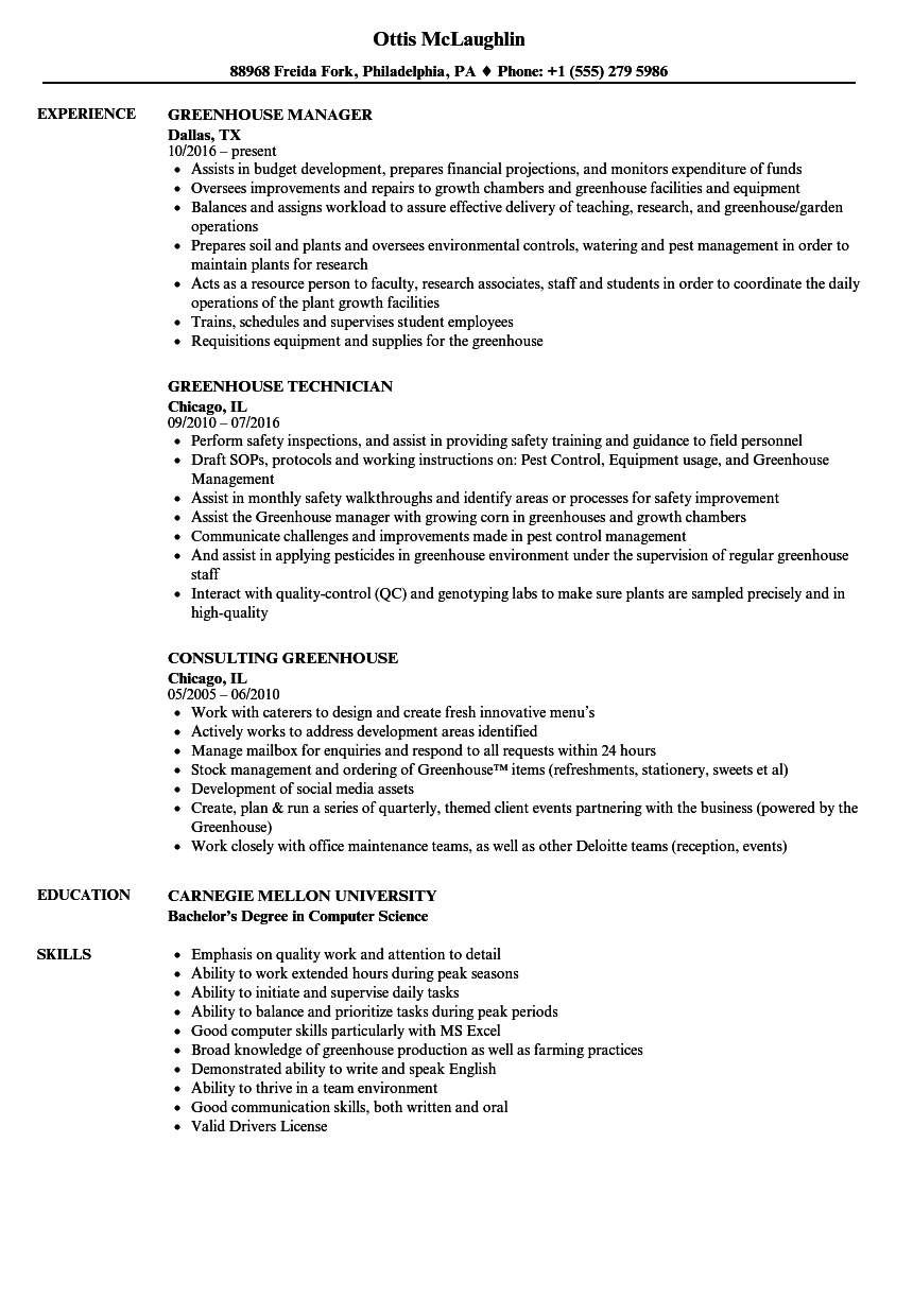 Greenhouse Resume Sample As Image File