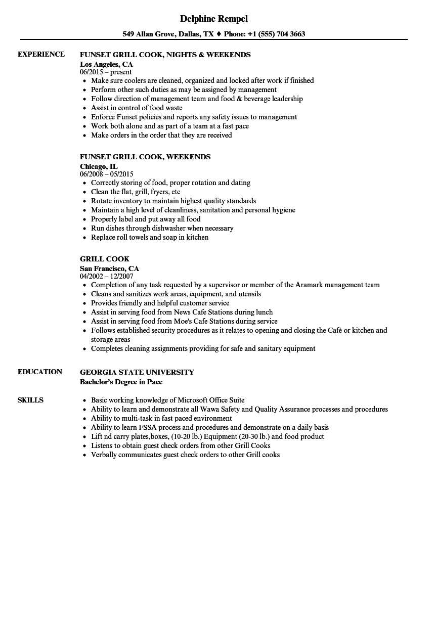 Grill Cook Resume Samples | Velvet Jobs