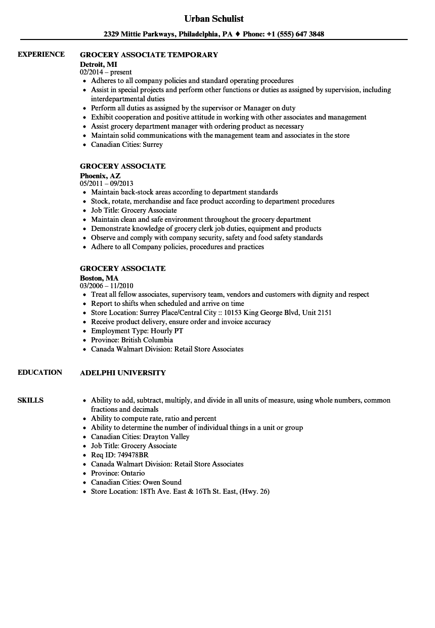 grocery associate resume samples