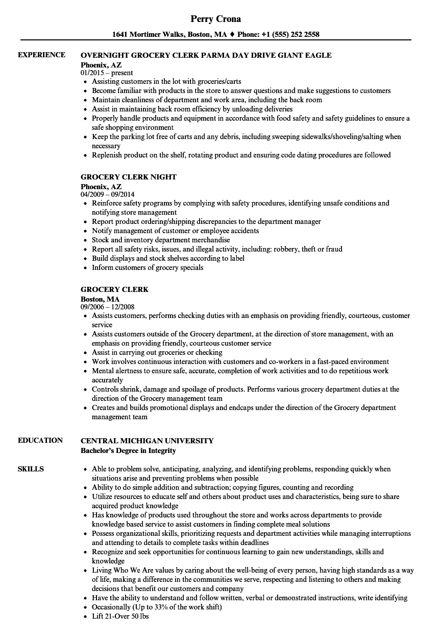 Grocery Clerk Resume Samples Velvet Jobs