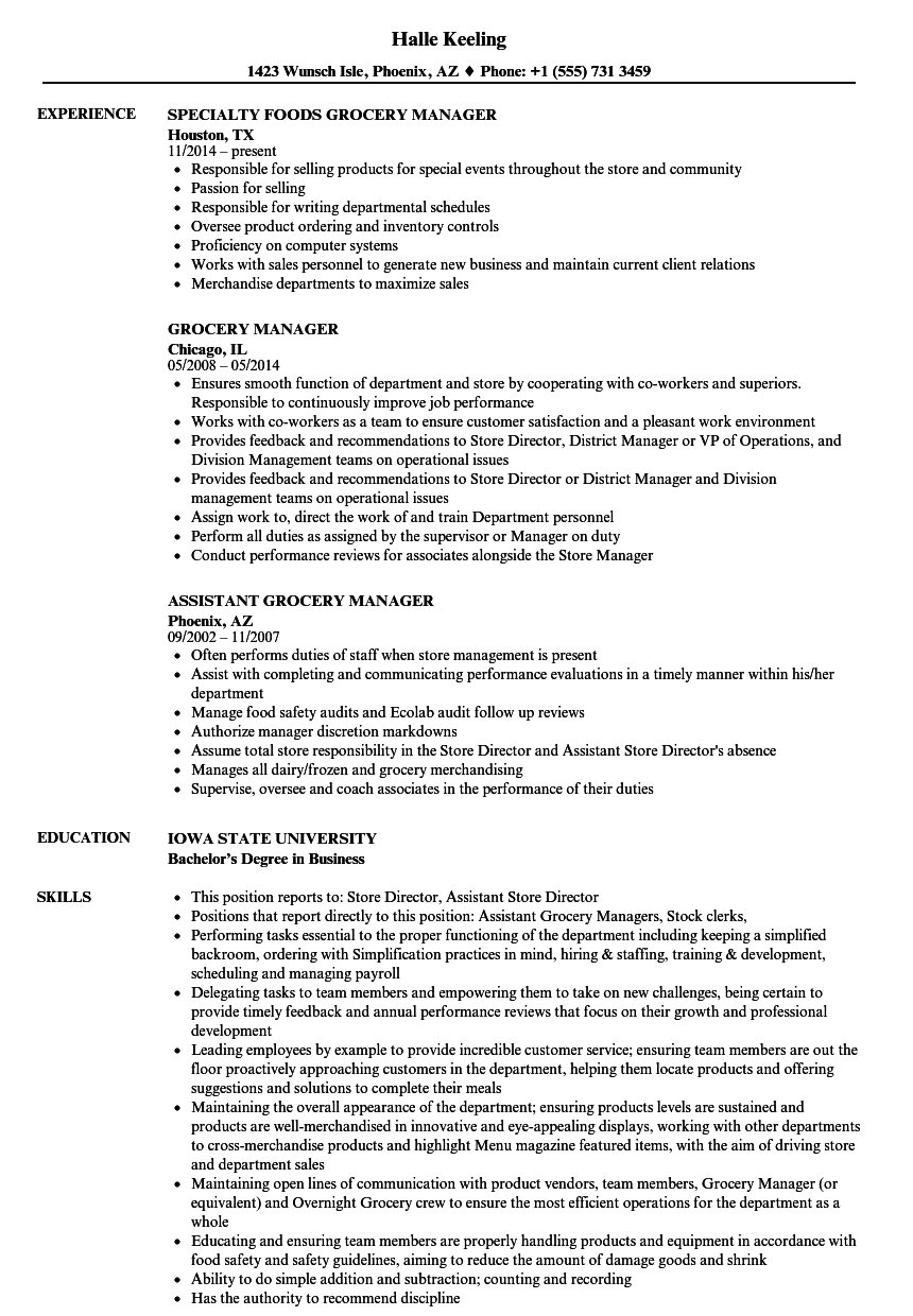 Grocery Manager Resume Samples Velvet Jobs