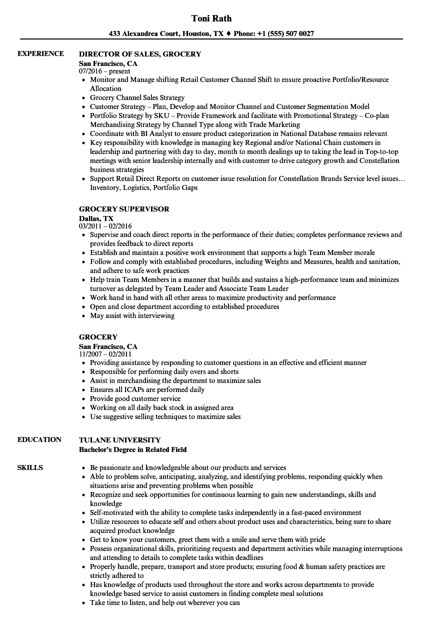 grocery resume samples